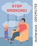 stop smoking poster flat vector ...   Shutterstock .eps vector #2001901703
