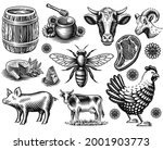 a set of black and white vector ... | Shutterstock .eps vector #2001903773