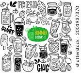 doodle illustration of summer... | Shutterstock .eps vector #2001937370