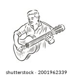 man playing guitar. music... | Shutterstock .eps vector #2001962339