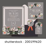 save the date flower card | Shutterstock .eps vector #200199620