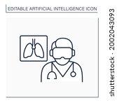 ai in medicine line icon....   Shutterstock .eps vector #2002043093