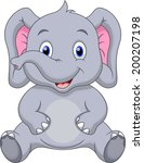 cute elephant cartoon | Shutterstock .eps vector #200207198