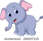 cute elephant cartoon | Shutterstock .eps vector #200207210