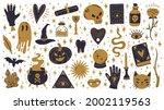 witch halloween symbols. doodle ... | Shutterstock .eps vector #2002119563