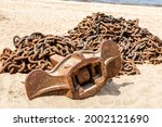 Rusty Anchor Chain With Ship...