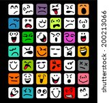 big set of cartoon facial... | Shutterstock .eps vector #200213066