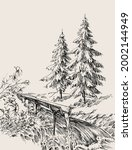 nature landscape vector  pine... | Shutterstock .eps vector #2002144949