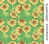 roses floral seamless pattern... | Shutterstock .eps vector #2002144976