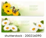 Summer Banners With Colorful...