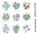 hand drawn doodle print flower...   Shutterstock .eps vector #2002171790