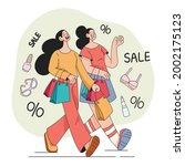 woman girls friends making...   Shutterstock .eps vector #2002175123