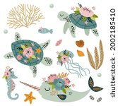 set of isolated cute sea... | Shutterstock .eps vector #2002185410