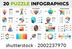 20 puzzle infographics pack.... | Shutterstock .eps vector #2002237970