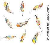colorful feathers on a white... | Shutterstock .eps vector #200229848