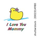 i love you mommy duck gift card ... | Shutterstock .eps vector #2002314980