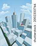 a city buildings cartoon comic...   Shutterstock .eps vector #2002333766