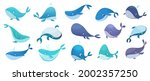whales collection. ocean... | Shutterstock .eps vector #2002357250