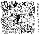 black graffity urban elements... | Shutterstock .eps vector #2002358036
