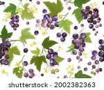 seamless black currant pattern... | Shutterstock .eps vector #2002382363