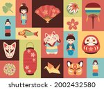 japanese toys. asian cultural... | Shutterstock .eps vector #2002432580
