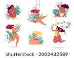 women in flowers. body positive ... | Shutterstock .eps vector #2002432589