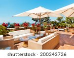 Stock photo outside exterior with sea view from terrace 200243726