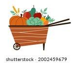Vector Cute Wheelbarrow With...