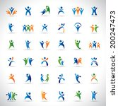 abstract human symbols set.... | Shutterstock .eps vector #200247473