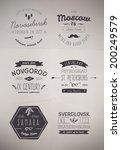 6 hand drawn style logos.... | Shutterstock .eps vector #200249579