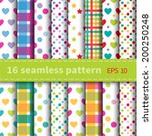 Set Of 16 Colorful Seamless...