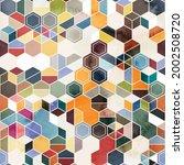 seamless pattern of hexagons in ... | Shutterstock . vector #2002508720
