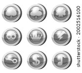 set of silver coins for game... | Shutterstock .eps vector #2002516100
