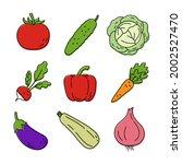 vegetable sketch. color simple... | Shutterstock .eps vector #2002527470