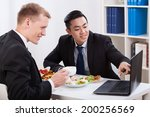 men during lunch time in the... | Shutterstock . vector #200256569