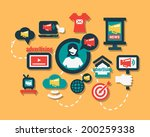 advertising icons set in flat... | Shutterstock .eps vector #200259338
