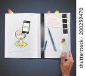 kid holding phones printed on...   Shutterstock .eps vector #200259470