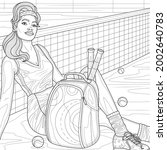 girl tennis player near the... | Shutterstock .eps vector #2002640783
