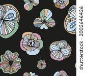 funky doodle flowers in pastel... | Shutterstock .eps vector #2002646426