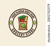 grocery paper bag emblem stamp...   Shutterstock .eps vector #2002702379