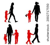 set silhouette of happy family... | Shutterstock . vector #2002717550