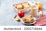 Small photo of Bread pudding breakfast casserole made from wheat bread, eggs, milk and grated apples.