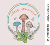 stay groovy slogan print with... | Shutterstock .eps vector #2002725119