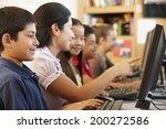 teacher and schoolchildren in... | Shutterstock . vector #200272586