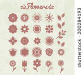 vector set of flowers.... | Shutterstock .eps vector #200284193