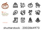 autumn icon vector set. linear...   Shutterstock .eps vector #2002864973