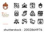 autumn icon vector set. linear...   Shutterstock .eps vector #2002864976