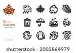 autumn icon vector set. linear...   Shutterstock .eps vector #2002864979