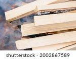 Pile Of Firewood. Burning...
