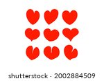 set of red hearts icon vector ... | Shutterstock .eps vector #2002884509